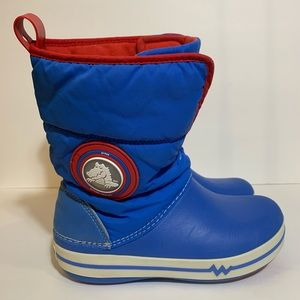 Crocs Light-up boots youth size 3 blue and red